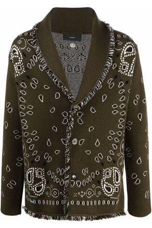 Alanui Men Cardigans - Paisley-print knitted cardigan