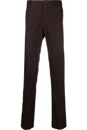 Etro Men Skinny Pants - Paisley-print slim-fit trousers