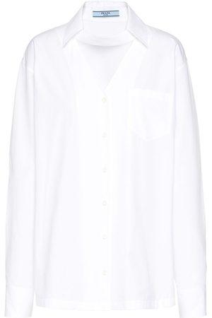 Prada Women Shirts - V-neck poplin shirt