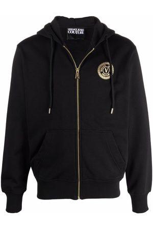 VERSACE Logo-patch zip-up hoodie