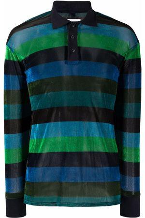 DOUBLET Men Polo Shirts - Striped crushed-velvet polo shirt