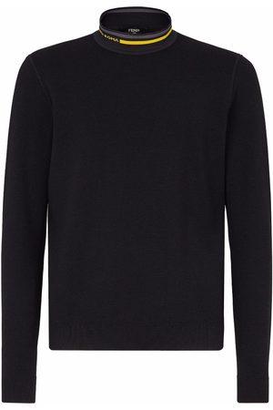 Fendi Men Turtlenecks - Intarsia-logo high-neck jumper