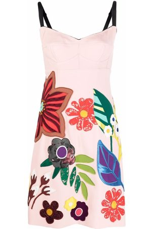 Dolce & Gabbana Women Printed Dresses - Floral-appliqué sleeveless dress