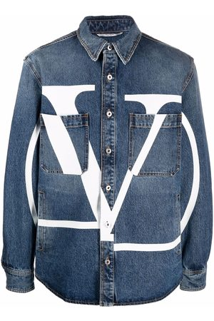 VALENTINO Logo-print long-sleeve denim shirt