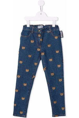 Moschino Girls Slim - Teddy Bear appliqué slim-fit jeans