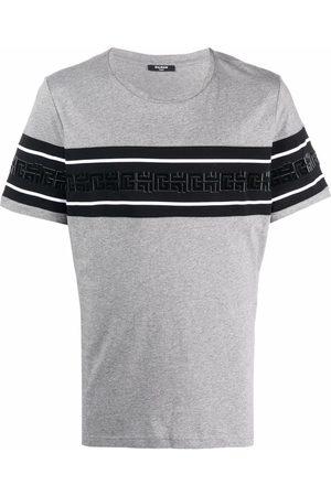 Balmain Monogram-pattern short-sleeve T-shirt - Grey