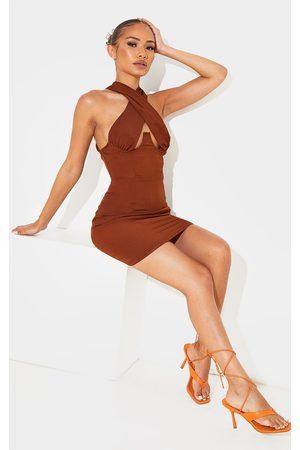 PRETTYLITTLETHING Women Bodycon Dresses - Petite Chocolate Wrap Over Underbust Bodycon Dress
