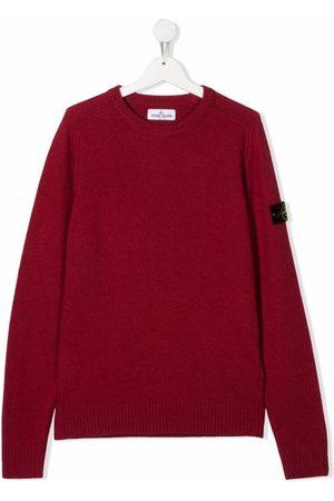Stone Island Sweatshirts - TEEN logo-patch crewneck jumper