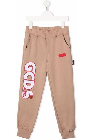 GCDS Boys Sweatpants - Logo-embroidered track pants - Neutrals