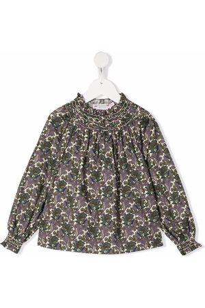BONPOINT Girls Blouses - Floral-print smocked blouse