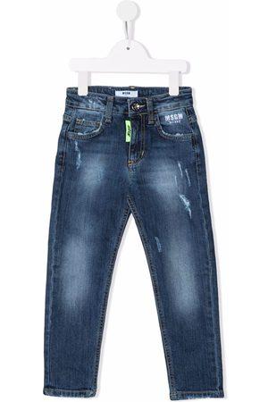 Msgm Boys Jeans - Distressed logo-print jeans