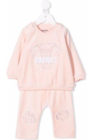 Kenzo Sets - Embroidered-logo velvet tracksuit set