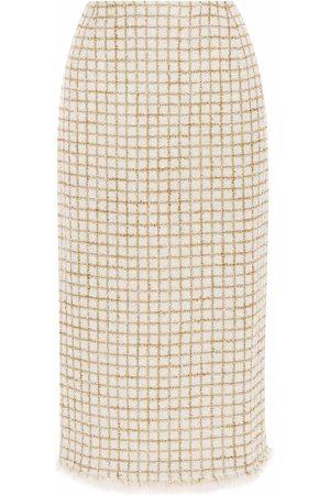 Oscar de la Renta Check-knit midi skirt - Neutrals