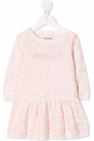 Kenzo Embroidered-logo long-sleeved dress