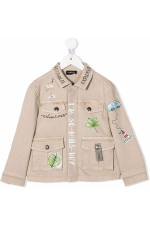 MONNALISA Leaf-print jacket - Neutrals