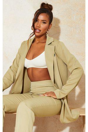 PRETTYLITTLETHING Women Long sleeves - Sage Khaki Badge Detail Woven Oversized Long Sleeve Button Front Blazer