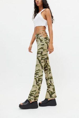 Urban Women Wide Leg Pants - Remnants Camo Side Strap Flare Pant