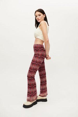 Urban Women Wide Leg Pants - Remnants Low-Rise Mesh Snake Print Flare Pant