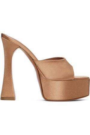 Amina Muaddi Women Heeled Sandals - Brown Satin Dalida Heeled Sandals