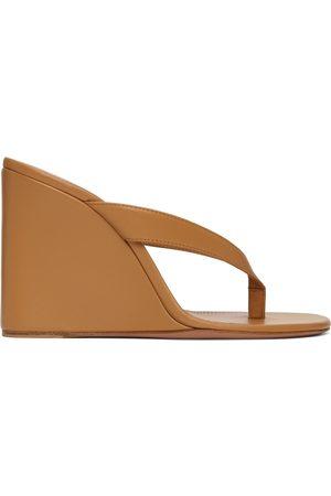 Amina Muaddi Women Heeled Sandals - Brown Johana Wedge Sandals