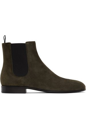 Gianvito Rossi Men Chelsea Boots - Green Suede Alain Chelsea Boots