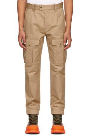 Alexander McQueen Men Cargo Pants - Beige Baggy Military Cargo Pants