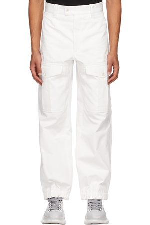 Alexander McQueen Men Cargo Pants - White Baggy Military Cargo Pants