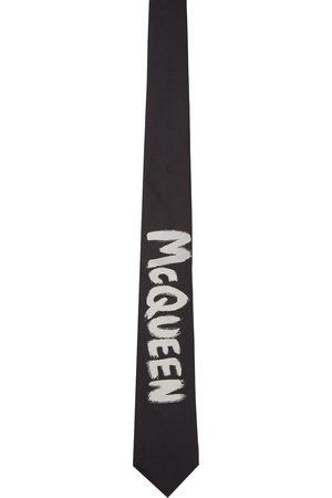 Alexander McQueen Men Neckties - Black & Off-White Exploded Graffiti Tie