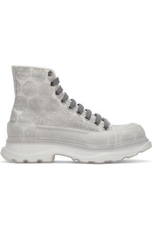 Alexander McQueen Men Sneakers - Grey Print Tread Slick High Sneakers