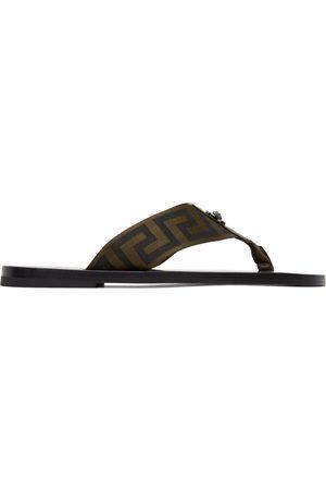 VERSACE Men Flip Flops - Green & Black Greca Flip Flops