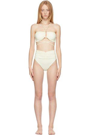 MAGDA BUTRYM Women Bikinis - Off-White Crossed Wrap Bikini Top