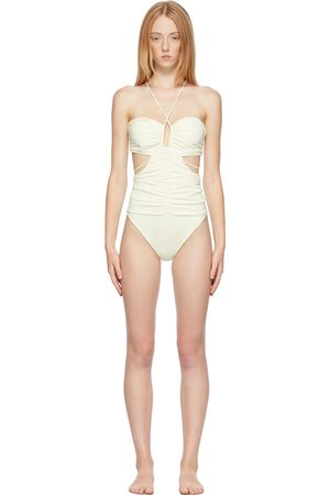 MAGDA BUTRYM Women Monokinis - Off-White Strappy Cut-Out Bandeau One-Piece Swimsuit
