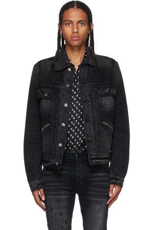AMIRI Men Denim Jackets - Black Denim Double Slanted Jacket