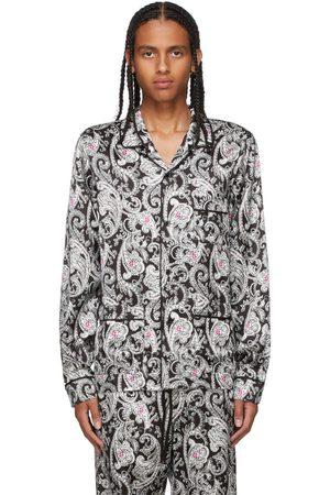 AMIRI Men Pajamas - Black & White Paisley PJ Shirt