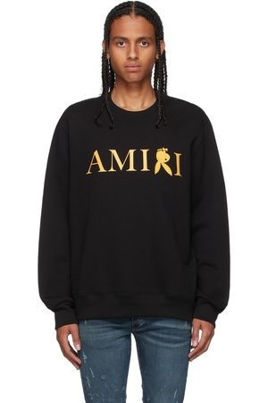 AMIRI Men Sweatshirts - Black & Gold Playboy Edition Reverse Bunny Sweatshirt