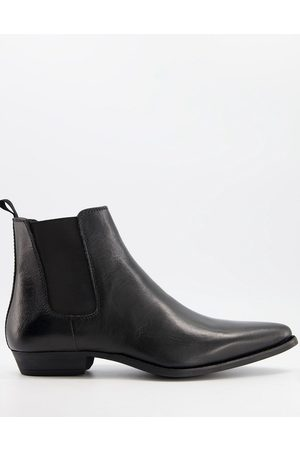 Silver Street Cuban western chelsea boots in leather