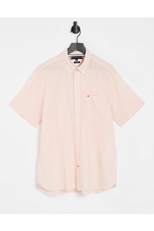 Tommy Hilfiger Short sleeve classic icon logo seersucker stripe shirt in summer sunset/white