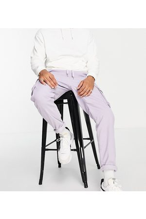 New Look Corduroy cargo pants with elastic waist in lilac