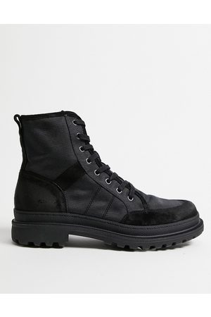 AllSaints All Saints traction lace up boots in nylon suede mix