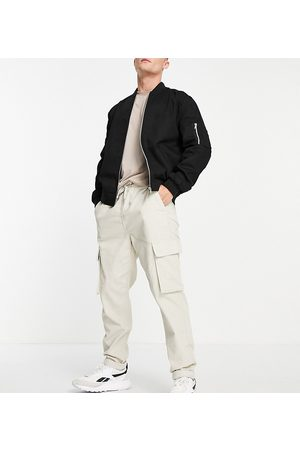 New Look Cord cargos with elastic waist in stone-Neutral