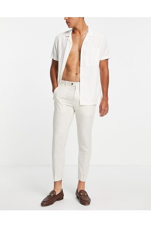 Gianni Feraud Men Skinny Pants - Wedding linen slim fit cropped suit pants