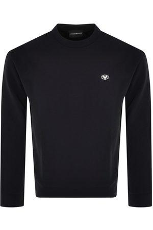 Armani Men Sweatshirts - Emporio Crew Neck Logo Sweatshirt Navy