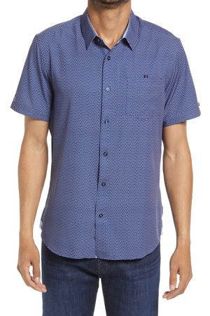 7 Diamonds Men's Rolling 7S Trim Fit Short Sleeve Button-Up Shirt