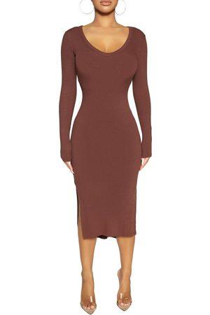 Naked Wardrobe Women's Microrib Side Slit Long Sleeve Dress