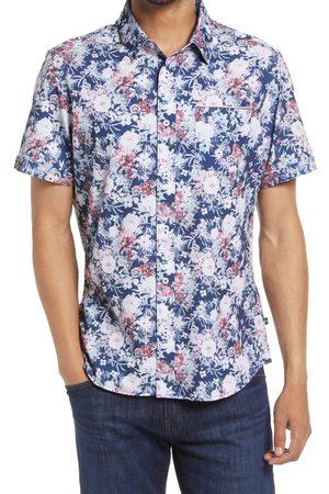 7 Diamonds Men Short sleeves - Men's Calypso Sunday Trim Fit Floral Stretch Short Sleeve Button-Up Shirt