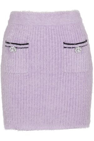 Self-Portrait Women Mini Skirts - Embellished knit miniskirt