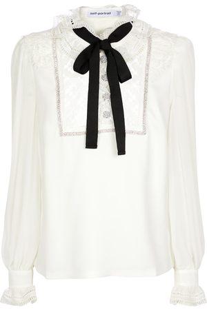 Self-Portrait Lace-trimmed stretch-crêpe blouse