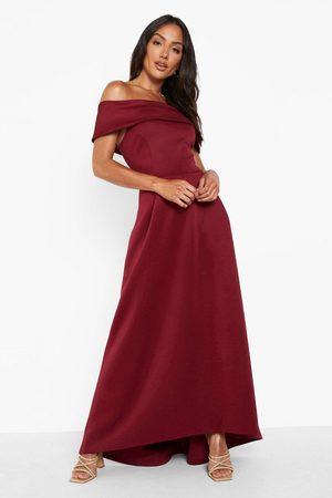 Boohoo Womens Off The Shoulder Dip Hem Maxi Dress - - 4