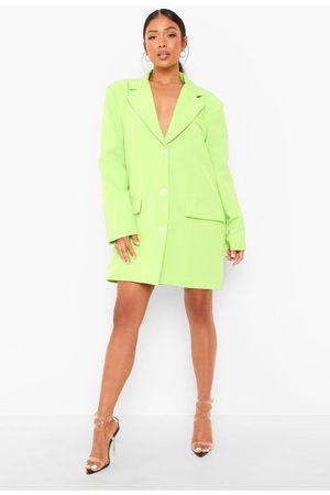 Boohoo Womens Petite Neon Oversized Boyfriend Blazer Dress - - 2