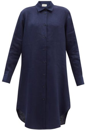 ASCENO Women Casual Dresses - The Oxford Linen Shirt Dress - Womens - Navy